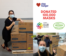 STOP HUNGER DONATED 100 000 MASKS TO SECOND HARVEST AND BREAKFAST CLUB OF CANADA